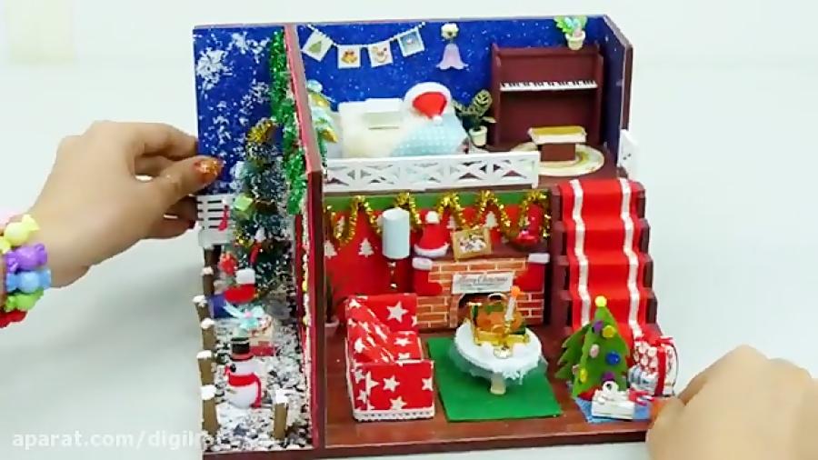 ساخت خانه مینیاتوری برای جشن کریسمس عروسک باربی