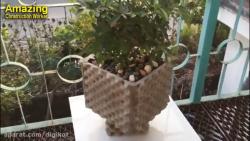 هنر و خلاقیت با سیمان - ساخت گلدان فوق العاده زیبا و هنری