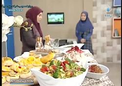 مرغ کبابی با سس انار و سالاد اسفناج و انار مخصوص شب یلدا