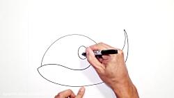 کشیدن نقاشی نهنگ کارتونی و کودکانه