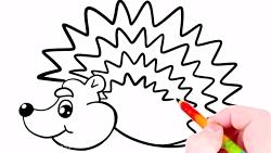 آموزش نقاشی کودکان - کشیدن و رنگ آمیزی جوجه تیغی