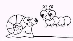 آموزش نقاشی کودکان - کشیدن و رنگ آمیزی کرم ابریشم و حلزون