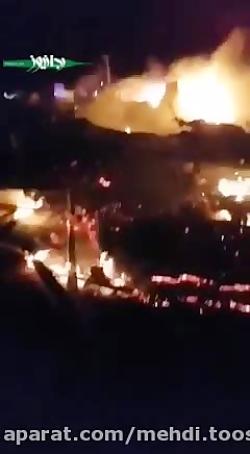 لحظات اولیه بعد از حمله تروریستی آمریکا به یکی از مقرهای حشدالشعبی