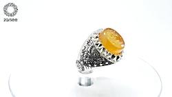 انگشتر مردانه عقیق پرتقالی خطی یا ضامن آهو و نقش آهو کد R222