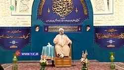 لحظه اعلام خبر شهادت سردار سلیمانی در مراسم دعای ندبه در حرم مطهر رضوی