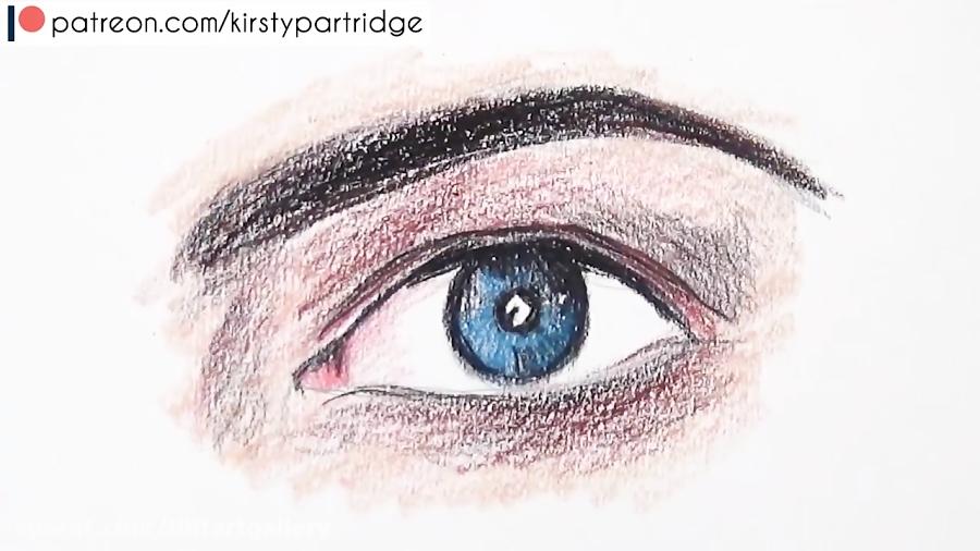 آموزش گام به گام ترسیم چشم و ابرو با مدادرنگی بصورت اشتباه و صحیح