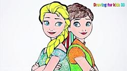 آموزش نقاشی به کودکان - پرنسس السا و آنا