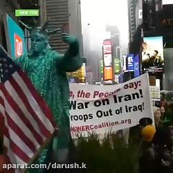 تظاهرات آمریکا پرچم ایران و تصاویر شهید قاسم سلیمانی در نیویورک