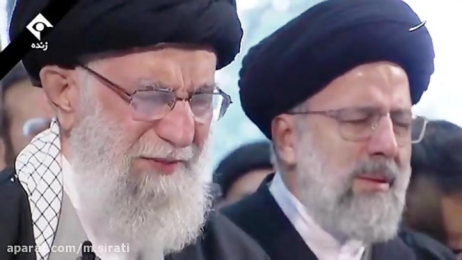نماز اشکبار رهبر انقلاب بر پیکر سردار شهید قاسم سلیمانی