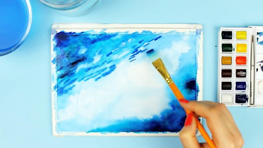 لوازم تکنیک آبرنگ برای کشیدن نقاشی اقیانوس