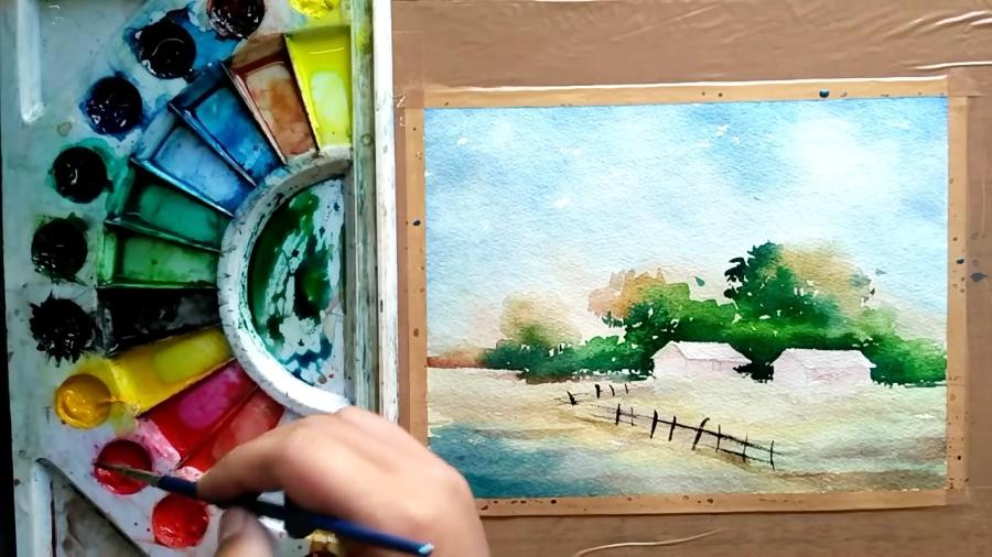 آموزش نقاشی منظره روستایی با ترکیب رنگهای آبرنگ