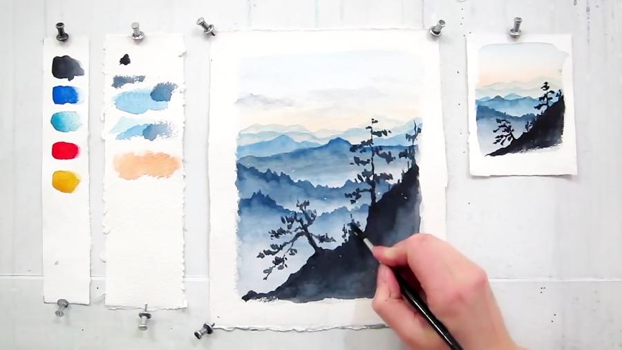 آموزش نقاشی کوهستان آبی ژاپنی با آبرنگ