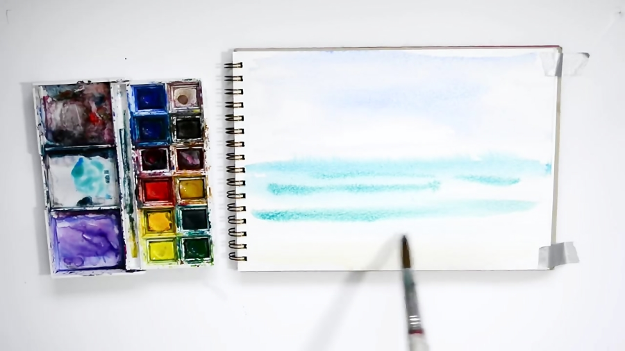 آموزش نقاشی آبرنگ برای کشیدن اقیانوس آبی