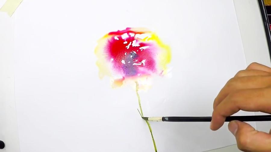 آموزش کشیدن نقاشی گل با تکنیک آبرنگ