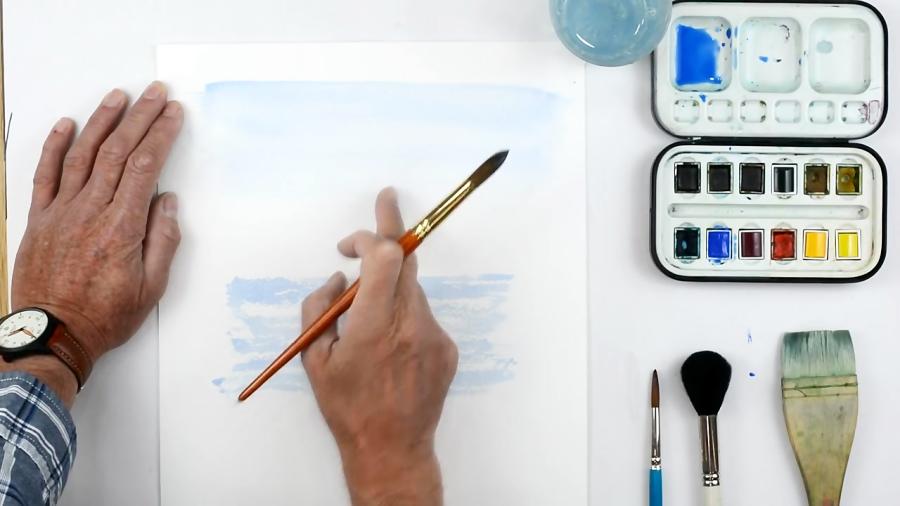 آموزش نقاشی آبرنگ آسمان آبی