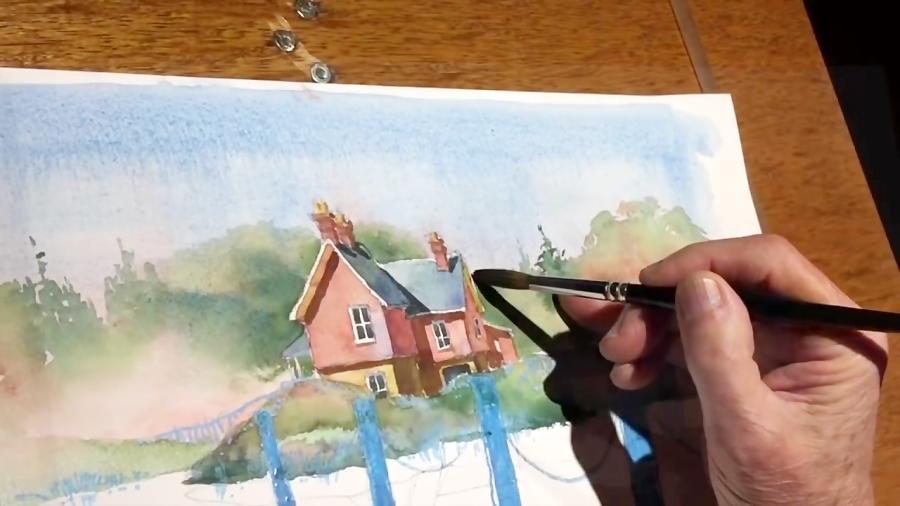 آموزش نقاشی آبرنگ از منظره یک کلبه و دریاچه