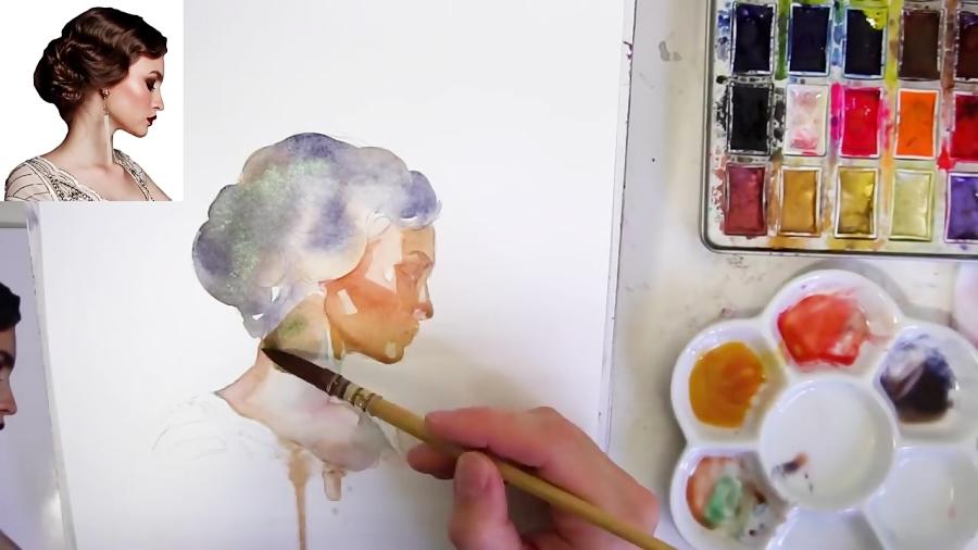 آموزش نقاشی مدرن با تلفیق آبرنگ و مداد رنگی