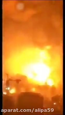 فیلمی از داخل یک پایگاه آمریکایی هنگام اصابت موشک