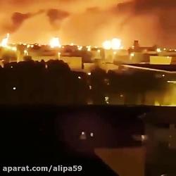لحظه آتش کشیدن پایگاه عین الاسد آمریکا با موشکهای سپاه