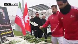 ادای احترام بازیکنان تراکتور به شهید سپهبد سلیمانی