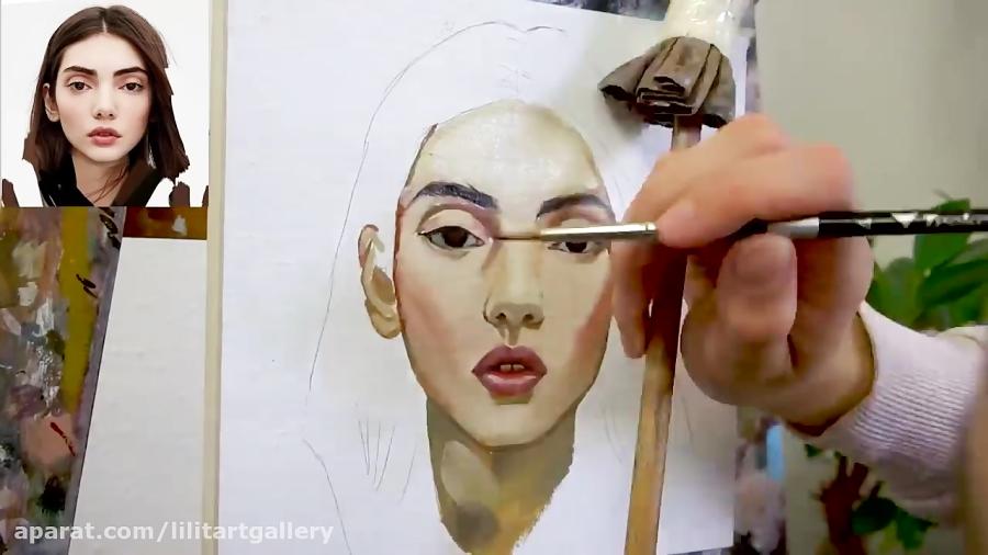 نحوه نقاشی پرتره از روی عکس با تکنیک رنگ روغن