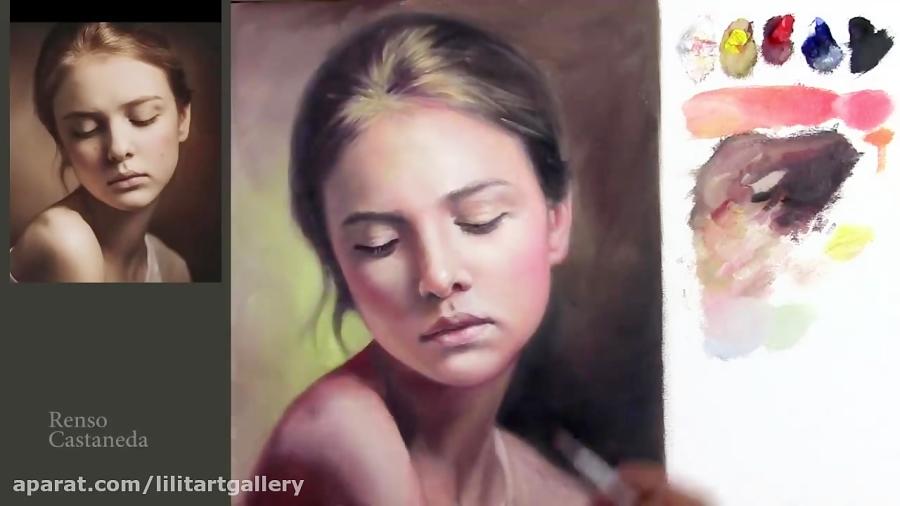 نقاشی رنگ روغن چهره یک دختر بصورت قدم به قدم
