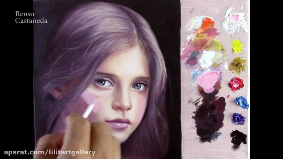 نقاشی رنگ روغن چهره یک دختر از صفر تا صد