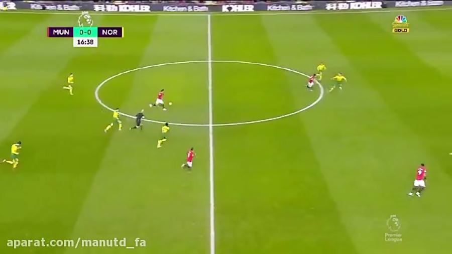 خلاصه بازی منچستریونایتد 4-0 نوریچ (21 دی 98)