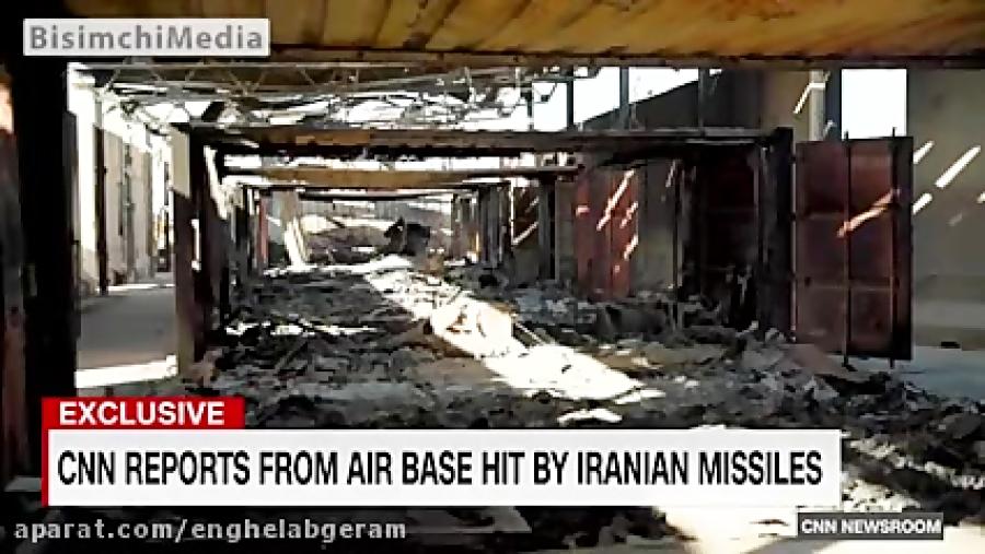اولین فیلم از لحظه اصابت موشکهای سپاه به عین الاسد از داخل پایگاه