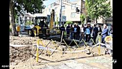 عملیات تعمیر لوله آب خیایان استاد معین شرکت آب و فاضلاب منطقه 5 شهر تهران
