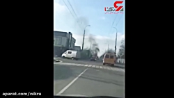 لحظه انفجار یک خودرو در مایکوپ روسیه
