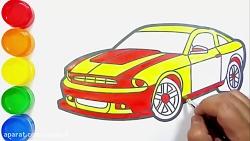 آموزش نقاشی به کودکان - نحوه طراحی و رنگ آمیزی اتومبیل سدان