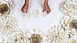 آموزش ساخت گل کاغذی - ساخت گل کاغذی مخصوص عروسی طرح 2