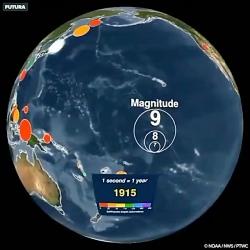 زلزله هایی که از سال 1901 تا سال 2000میلادی در سراسر رخ داده اند هر ثانیه این وی
