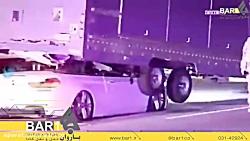 تصادف سواری BMW با عقب تریلی