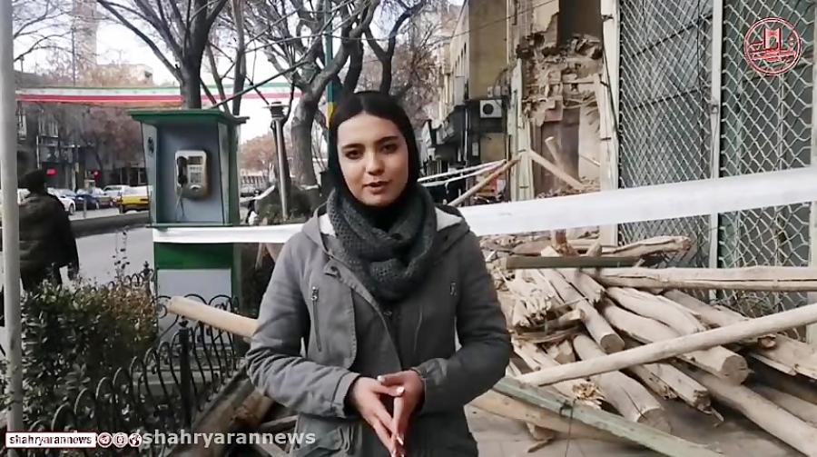 مسدود شدن پیاده رو در پی ریزش ساختمان قدیمی در تبریز