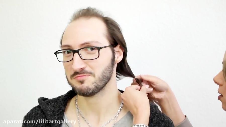 آموزش گریم حرفه ای گذاشتن کلاه گیس پروتز موی طبیعی