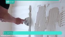 اجرای دیوارپوش سه بعدی طرح موج