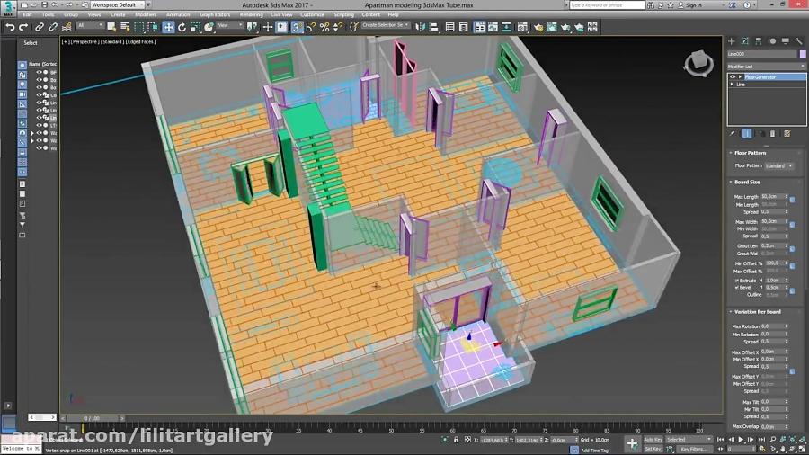 آموزش طراحی داخلی سه بعدی یک ساختمان شیک و بزرگ