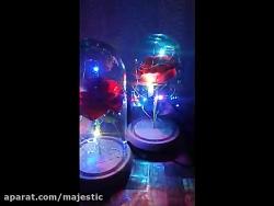 باکس شیشه ای گل رز با ریسه نور
