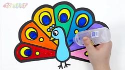 آموزش نقاشی به کودکان - طاووس