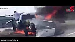 فیلم دلهره آور لحظه نجات یک مرد از زنده زنده سوختن در ماشین