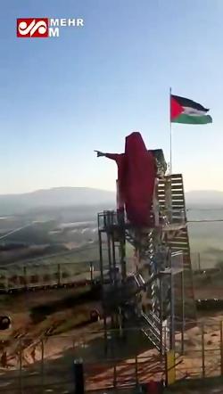 تندیس شهید سردار سلیمانی در مرز فلسطین