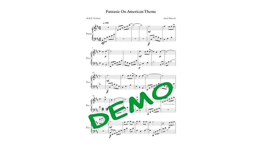 نت آهنگ Fantasie On American Theme از جواد معروفی برای پیانو