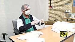 تولید ماسک و لباس بیمارستانی در هلال احمر
