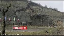 لحضه وحشتناک ریزش کوه در اتوبان تهران شمال