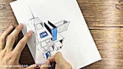 طراحی اسکیس معماری با راپید و مداد رنگ