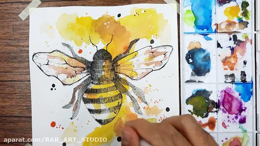 نقاشی با آبرنگ(زنبور عسل)