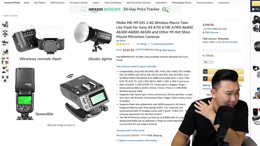 Buying $250 of SONY Camera Accessories on AMAZON