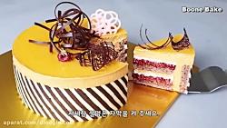 کیک شکلاتی موکا قهوه و مربای توت